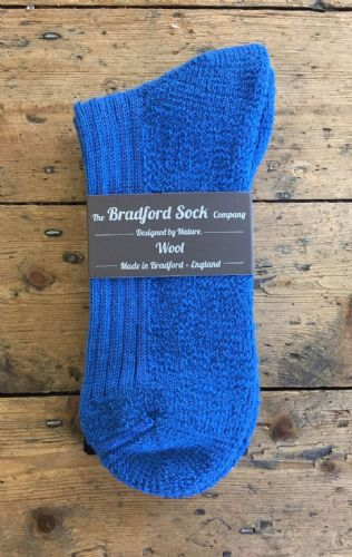 Ideal Walking Socks - Blue  with Terry Foot - Machine Washable.